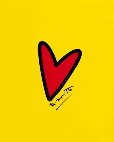 Britto, Romero (Brazilian, 1963-) red heart on yellow ground