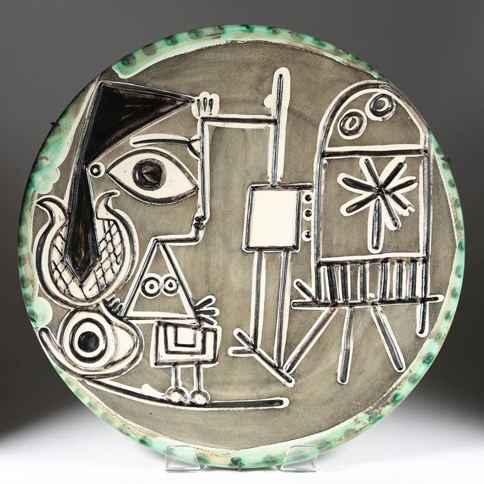 Jacqueline au Chevalet, 1956. Painted ceramic plate. Courtesy Park West Museum
